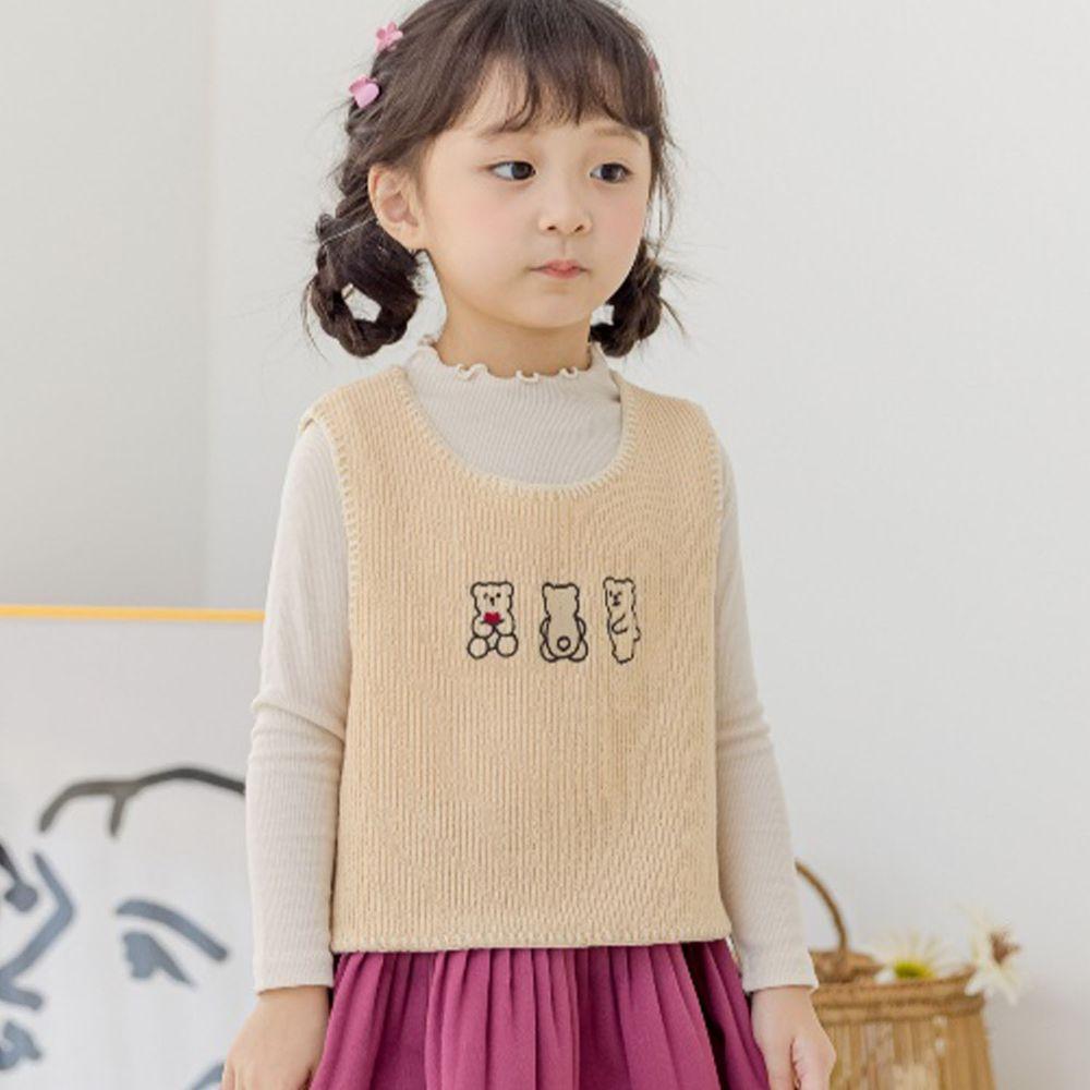 韓國 Orange Mom - 三隻小熊針織短背心-米黃