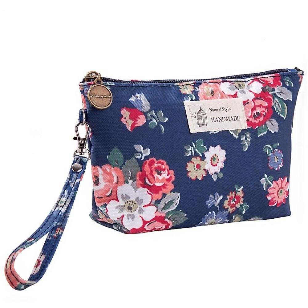 掛繩防水手拿化妝包-方形-深藍花朵