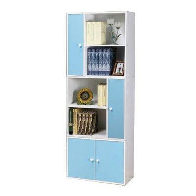 【任意組-白色櫃體】多用途書櫃三件組-活力藍