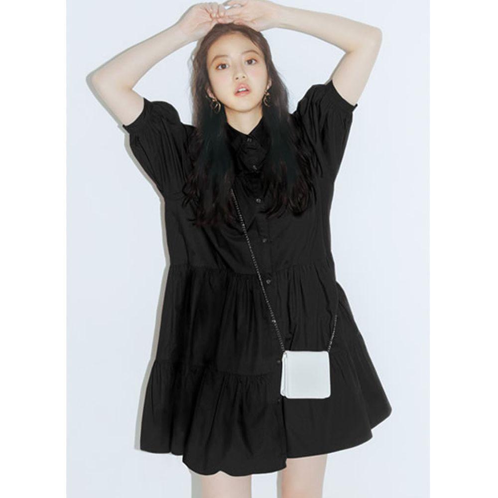 日本 GRL - 明星聯名款 蛋糕澎澎五分袖襯衫洋裝-時尚黑
