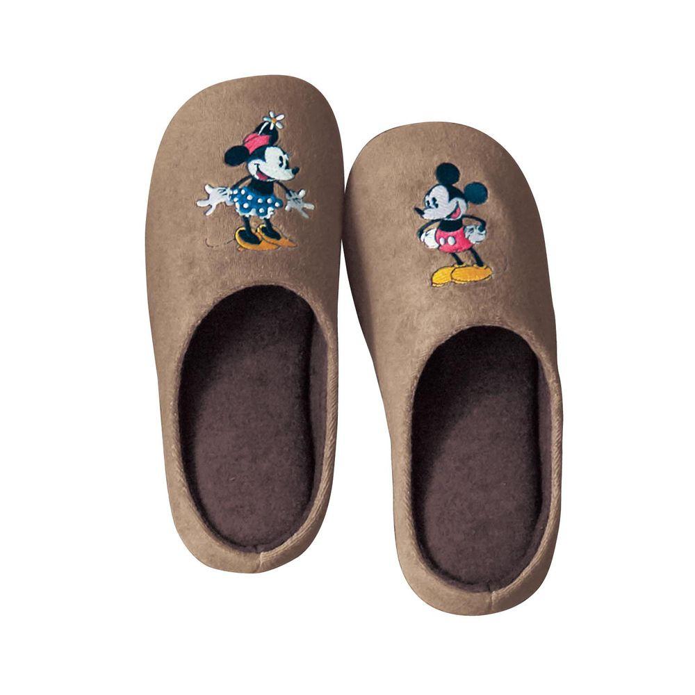 日本千趣會 - 迪士尼室內拖鞋(低反發)-米奇米妮-咖啡
