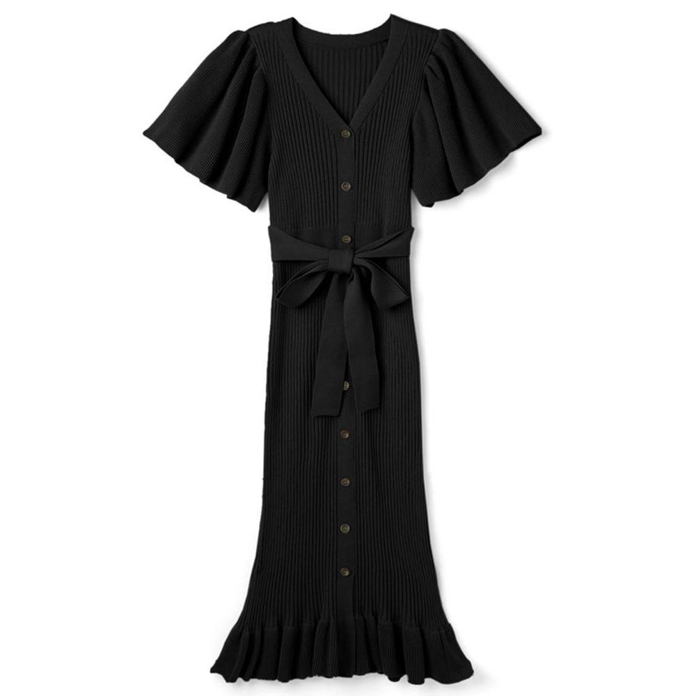 日本 GRL - 浪漫大荷葉袖針織修身洋裝-時尚黑