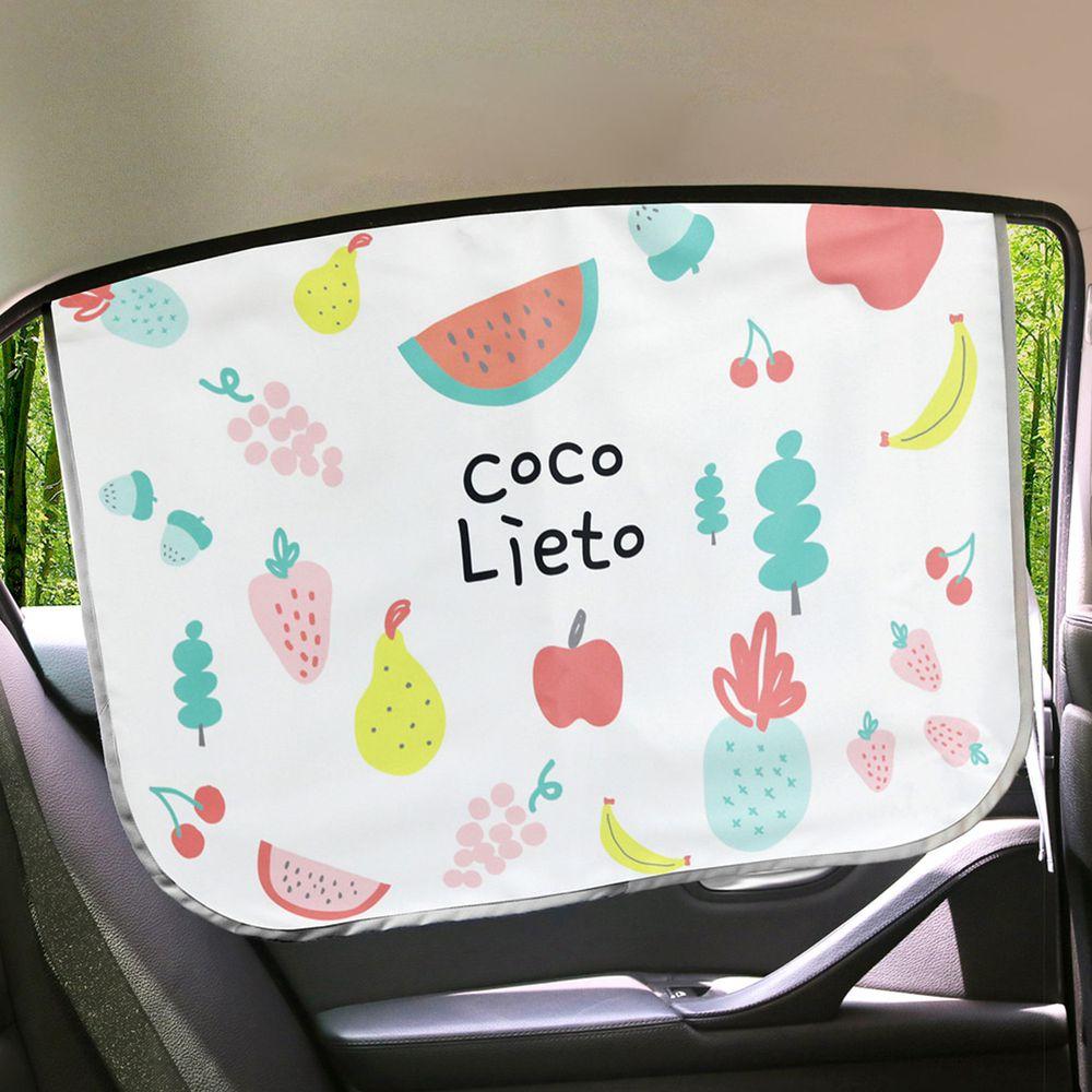 韓國 Lieto baby - 磁鐵式三層抗UV遮陽窗簾-繽紛水果 (67*48cm)