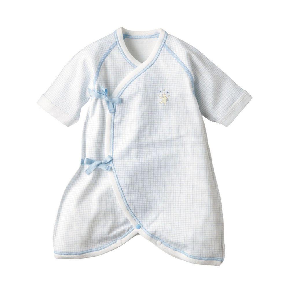 日本 Combi - mini系列-純棉紗布蝴蝶衣-白熊(粉藍格紋) (60-70)
