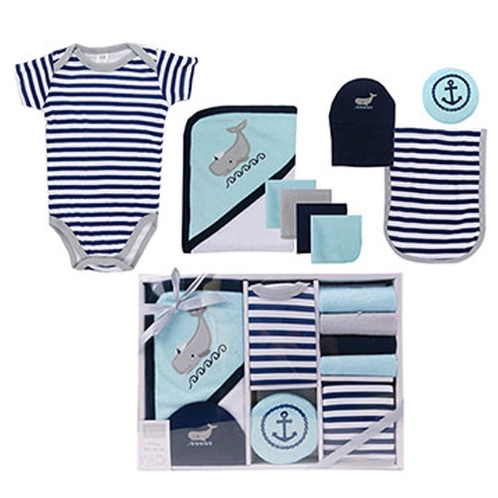 美國 Luvable Friends - 嬰幼兒包屁衣與長褲9入禮盒組-鯨魚 (0-3M)