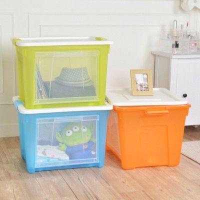 艾森層疊前開兩用收納箱 3入-橘綠藍3色各1-65公升/3入