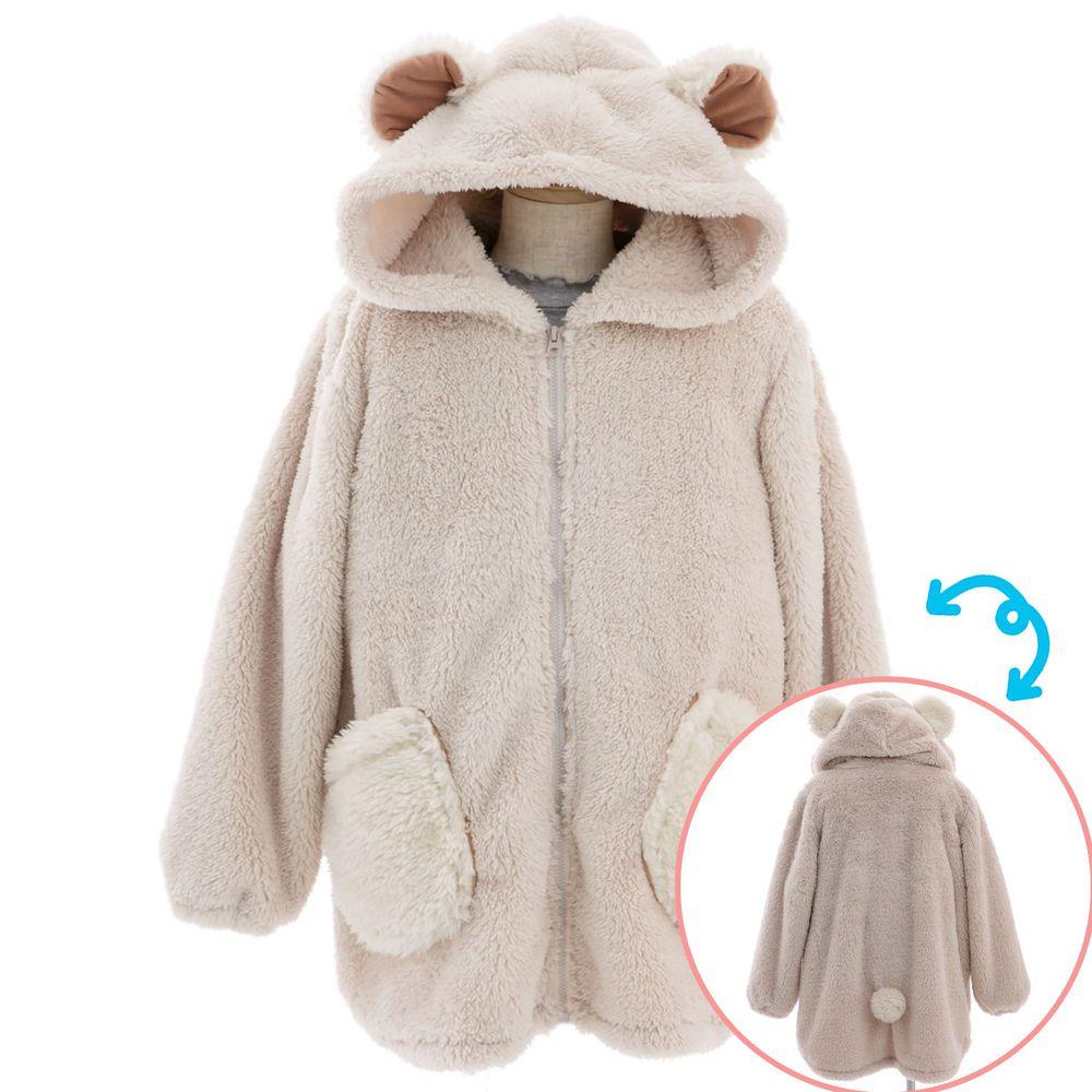 日本 BISQUE - 動物造型連帽超柔軟保暖外套-小熊-米杏 (110-140cm)