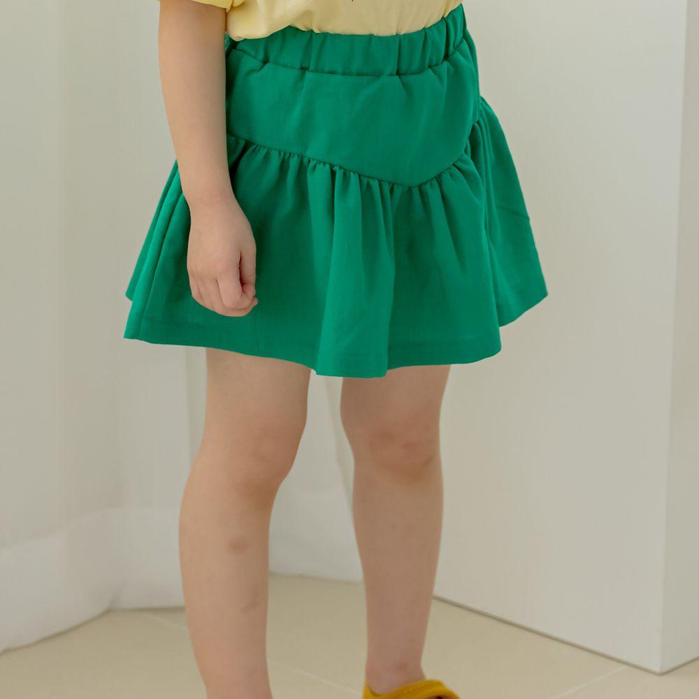 韓國 Orange Mom - 抓皺鬆緊褲頭褲裙-綠
