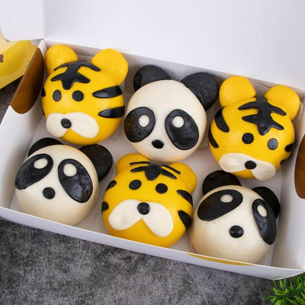 艾酷奇 - 人氣動物園組-(6個/盒)-(素)-老虎包子(紅豆)X3、熊貓包子(奶油綠豆沙)X3 (390公克±3%)-團購專案
