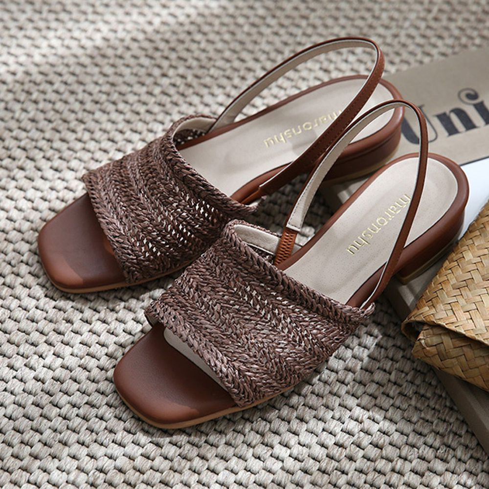 韓國 Dangolunni - 編織面微高涼鞋(3cm高)-棕
