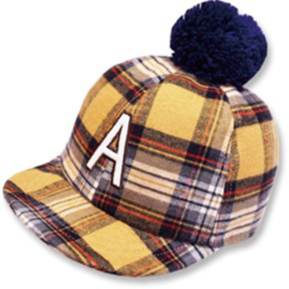 日本 Connect M - 可愛保暖帽-小童款-格紋棒球帽_駝色-03-2005
