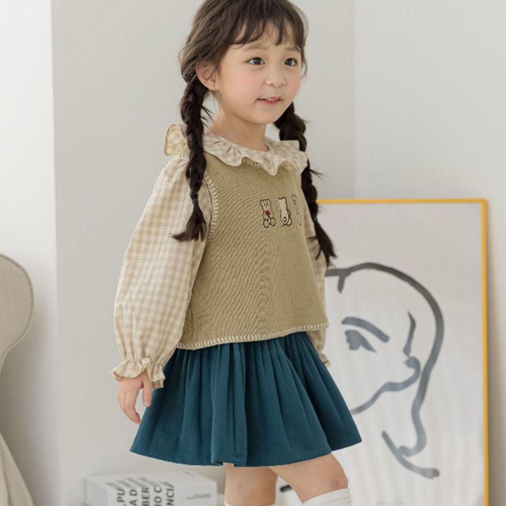 韓國 Orange Mom - (現省$150)三件式背心套裝-抹茶綠背心X格子上衣X藍綠裙