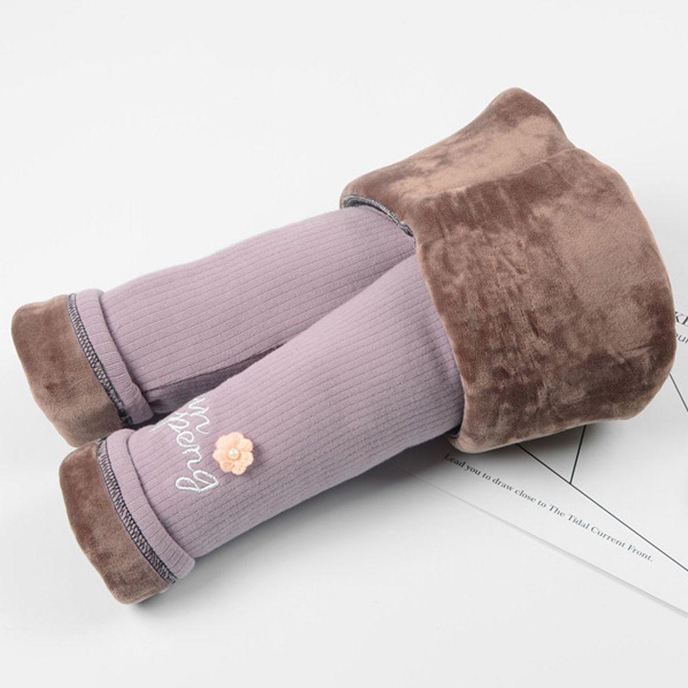 FANMOU - 溫暖加絨內搭褲(特厚)-小花-粉色