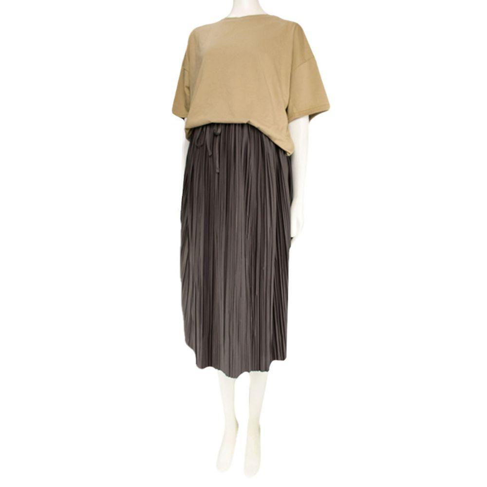 akachan honpo - 假兩件洋裝-摩卡色