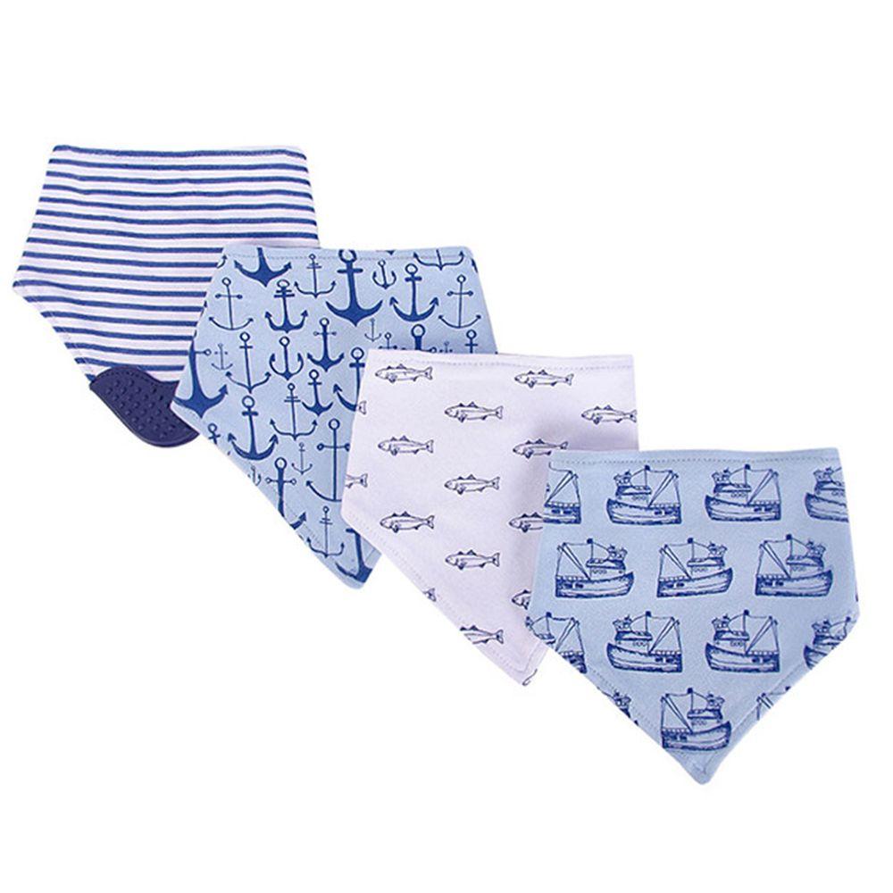 美國 Luvable Friends - 100%純棉超時尚嬰幼兒三角領巾/口水巾圍兜/咬咬兜3入組-魚兒玩耍 (單一尺寸)