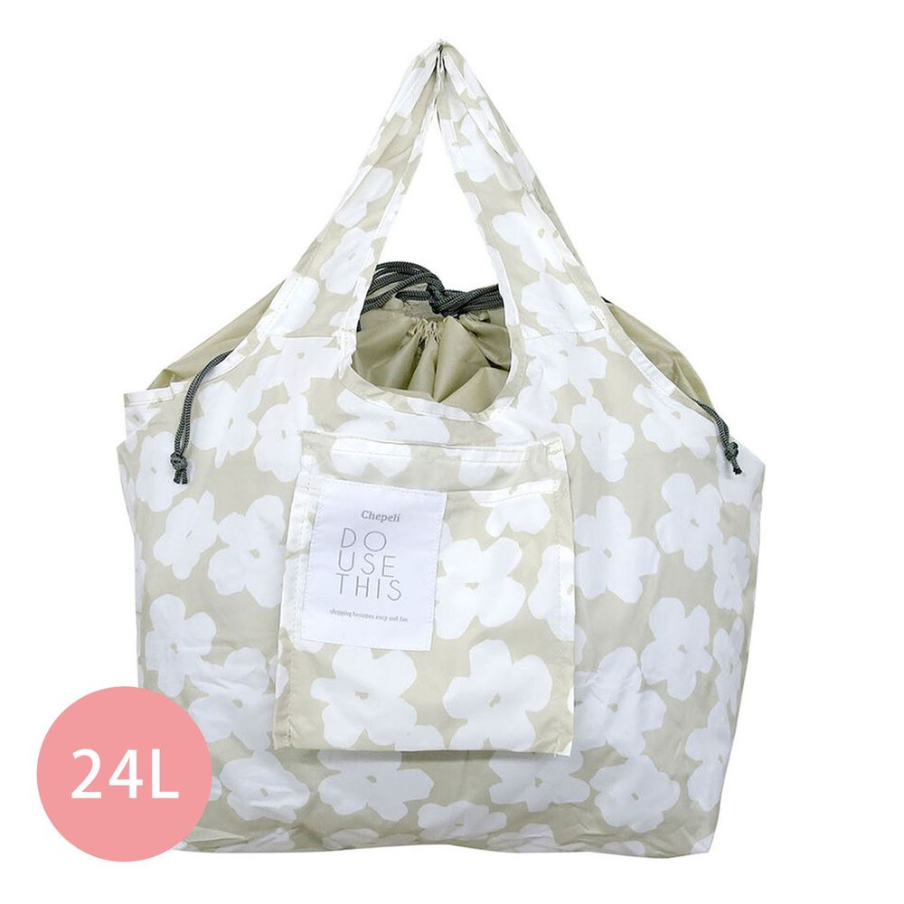 日本 Chepeli - 超大容量保冷購物袋(可折疊收納)-夏日花園-杏-24L/耐重15kg