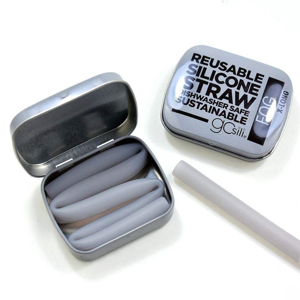 美國GoSili - 矽膠吸管隨行27cm-Fog-附鐵盒-紳士灰