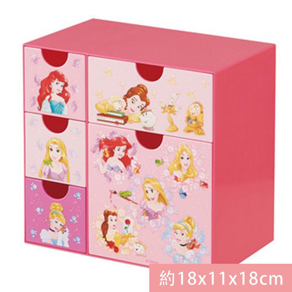 日本 SKATER 代購 - 桌上五格抽屜式收納盒-迪士尼公主 (約18x11x18cm)