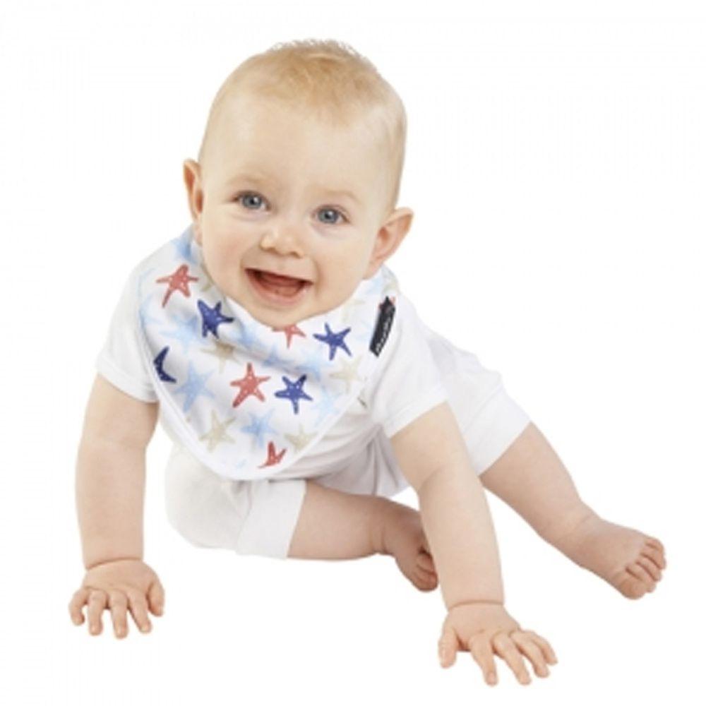 Mum 2 Mum - 雙面竹纖維棉機能口水巾圍兜-海星/藍條紋