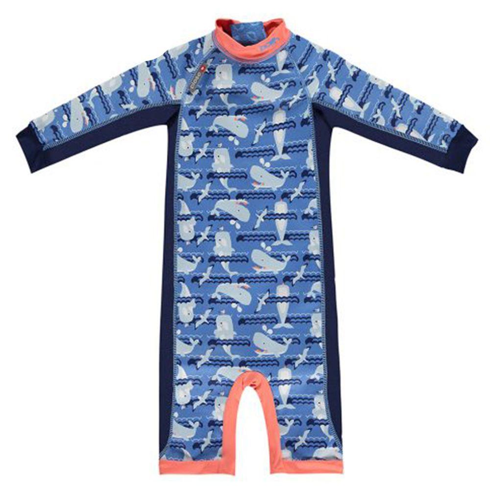 英國Pop-in - 嬰兒抗UV長袖泳裝-鯨魚