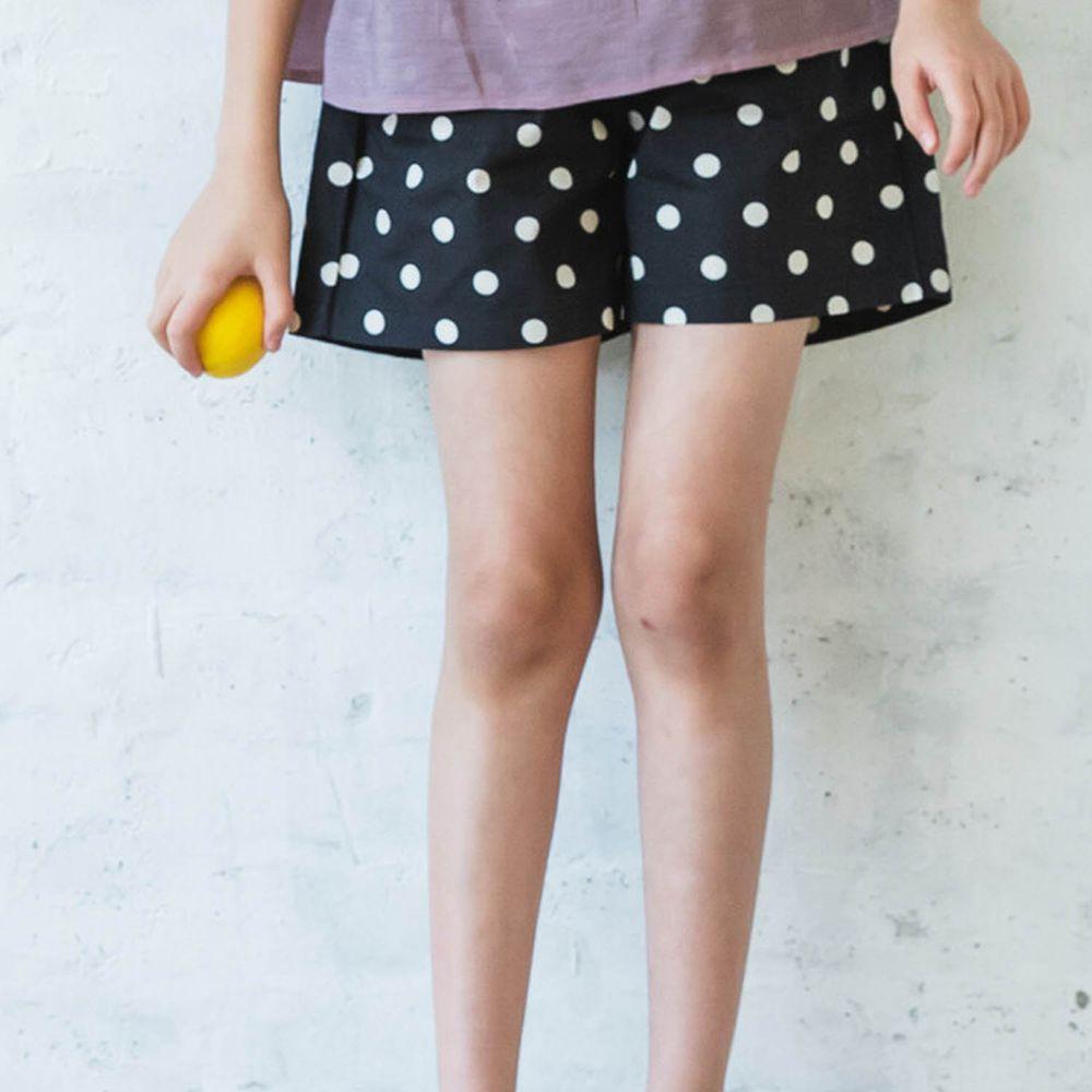 日本 PAIRMANON - 純棉小蝴蝶結短褲-點點-黑白