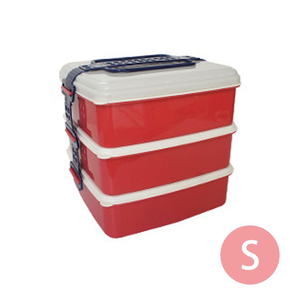 日本Bisque - 3層野餐便當盒-S-紅色