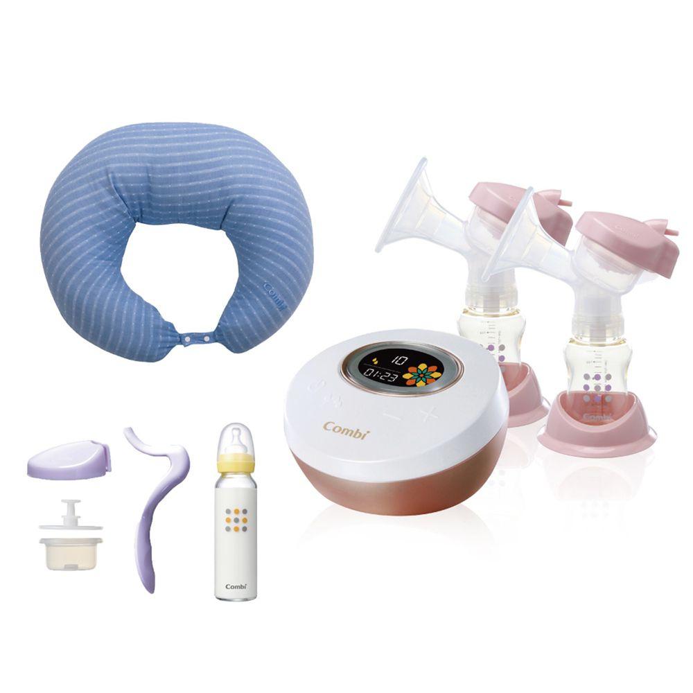 日本 Combi - 自然吸韻雙邊電動吸乳器-哺乳靠墊組-藍-贈 手動吸乳器配件+標準玻璃奶瓶 240ml