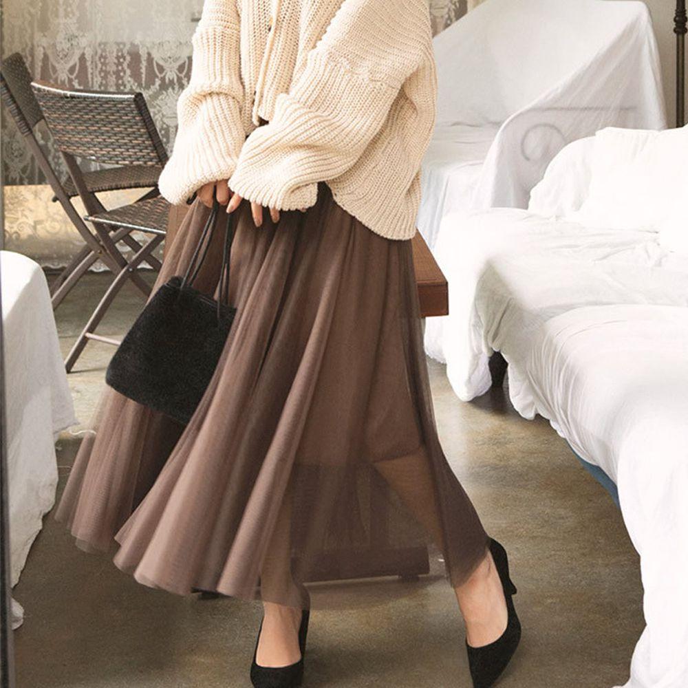 日本 GRL - 飄逸顯瘦雙層傘紗裙-摩卡咖 (M)