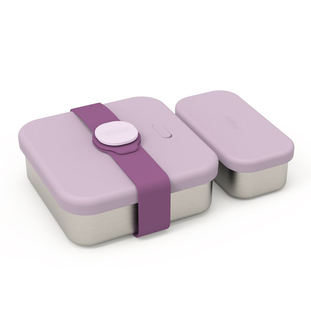 VIIDA - Kassie 便當盒-316抗菌不鏽鋼-紫 (700ml+220ml)