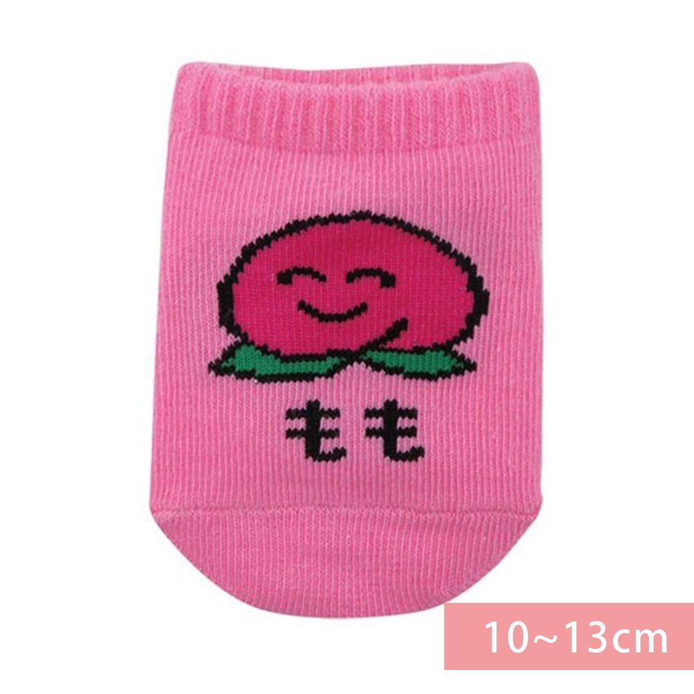 日本 OKUTANI - 童趣日文插畫短襪-水蜜桃-粉 (10-13cm(1-3y))