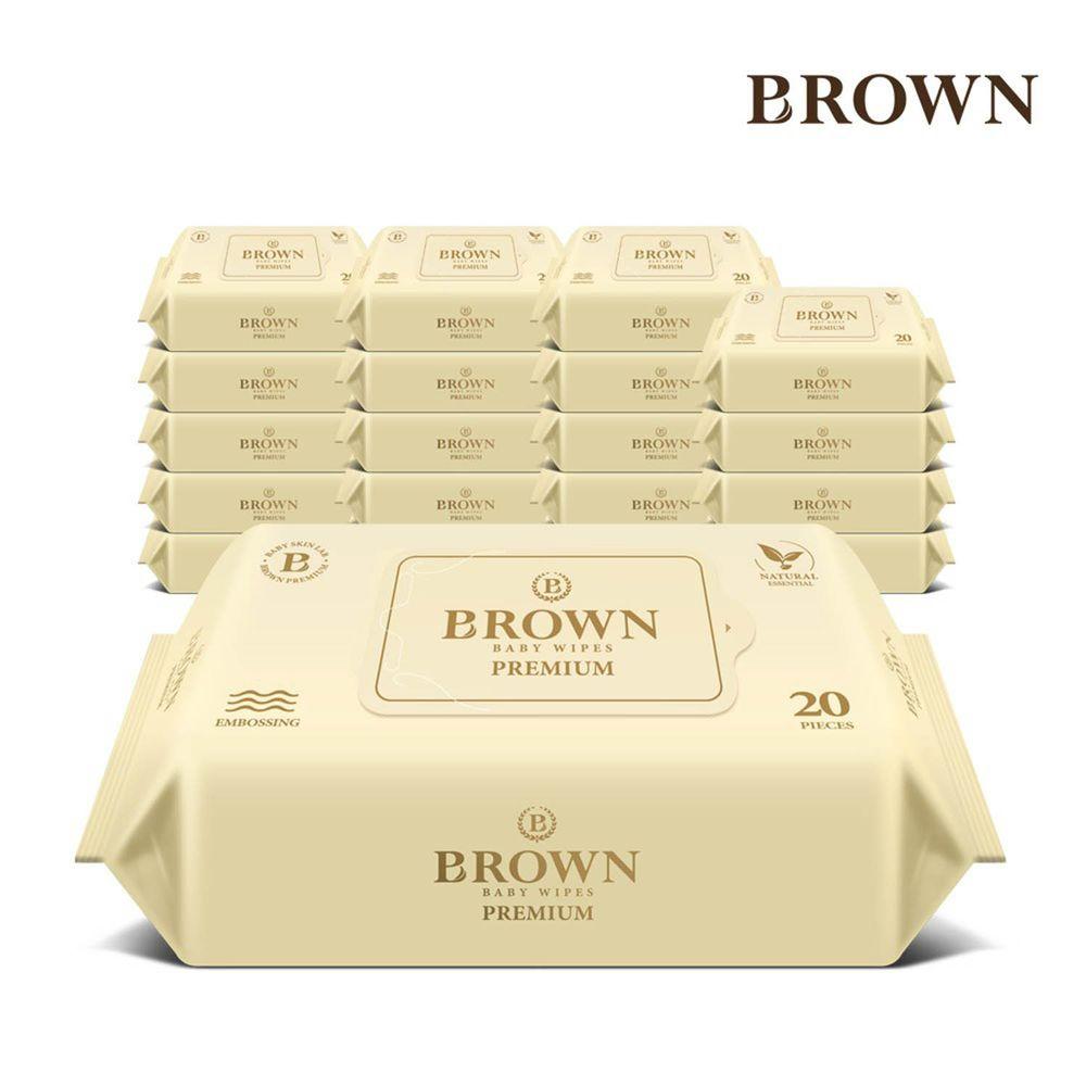 韓國BROWN - PREMIUM濕紙巾-蘆薈20抽(含蓋)*20包