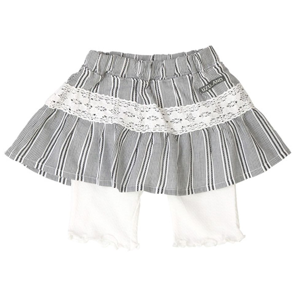 日本 ZOOLAND - 五分褲內搭褲裙-黑白直條紋-白褲
