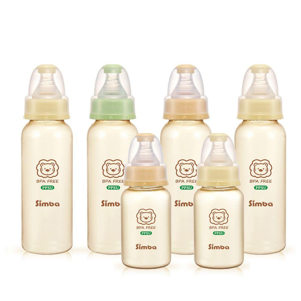 Simba 小獅王辛巴 - PPSU 標準奶瓶大套組-6入(4大2小)-大奶瓶(240ml)x4支+小奶瓶(150ml)x2支