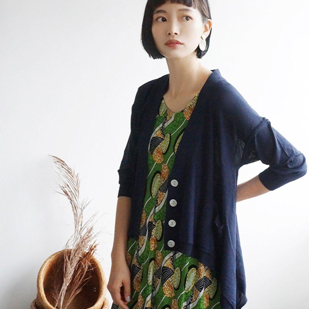 日本 zootie - 涼感防曬速乾 不規則剪裁罩衫/外套-海軍藍