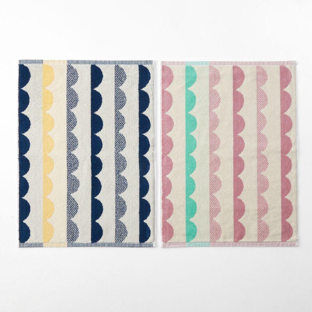 日本千趣會 - 純棉北歐風吸水毛巾腳踏墊(兩入組)-鋸齒波浪-藍X粉色系 (45*60cm)