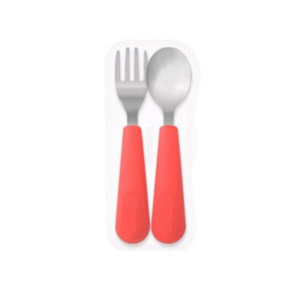 韓國 sillymann - 100%鉑金矽膠不鏽鋼幼童湯匙叉子餐具組-甜椒紅-附收納盒