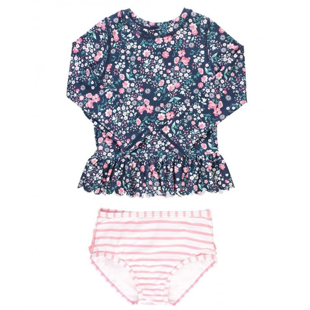 美國 RuffleButts - 小女童UPF 50+防曬兩件式長袖泳裝-青春搖擺