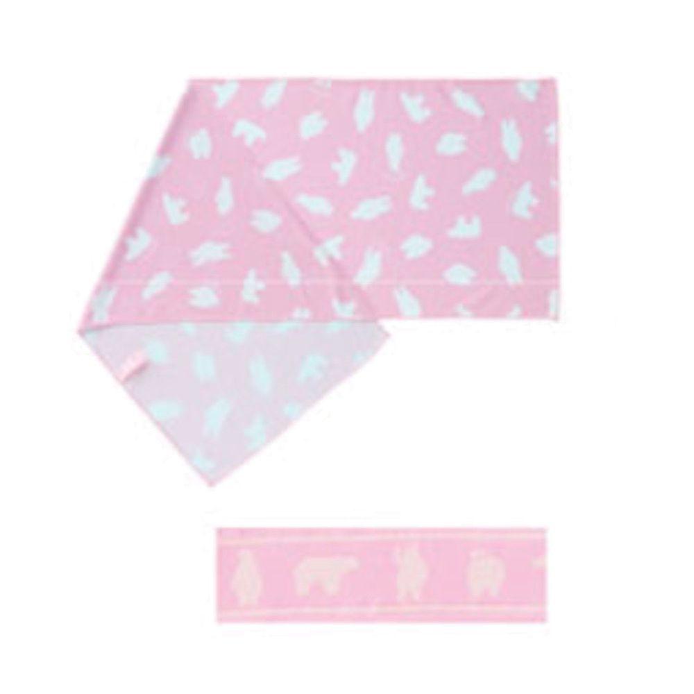 日本小泉 - 90% UV CUT 冷感毛巾(附領巾綁帶)-北極熊-粉 (30x90cm)