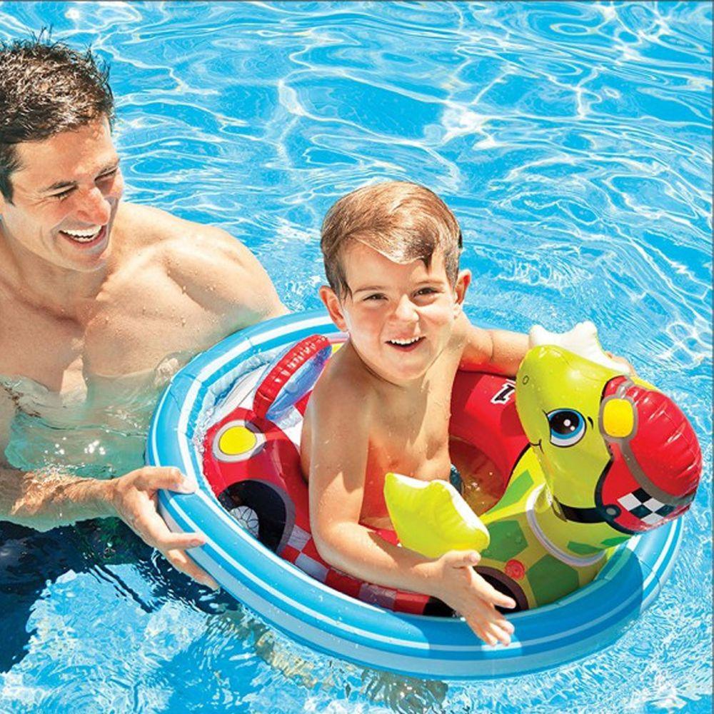 INTEX - 造型幼兒坐式充氣泳圈 適3~4歲-烏龜