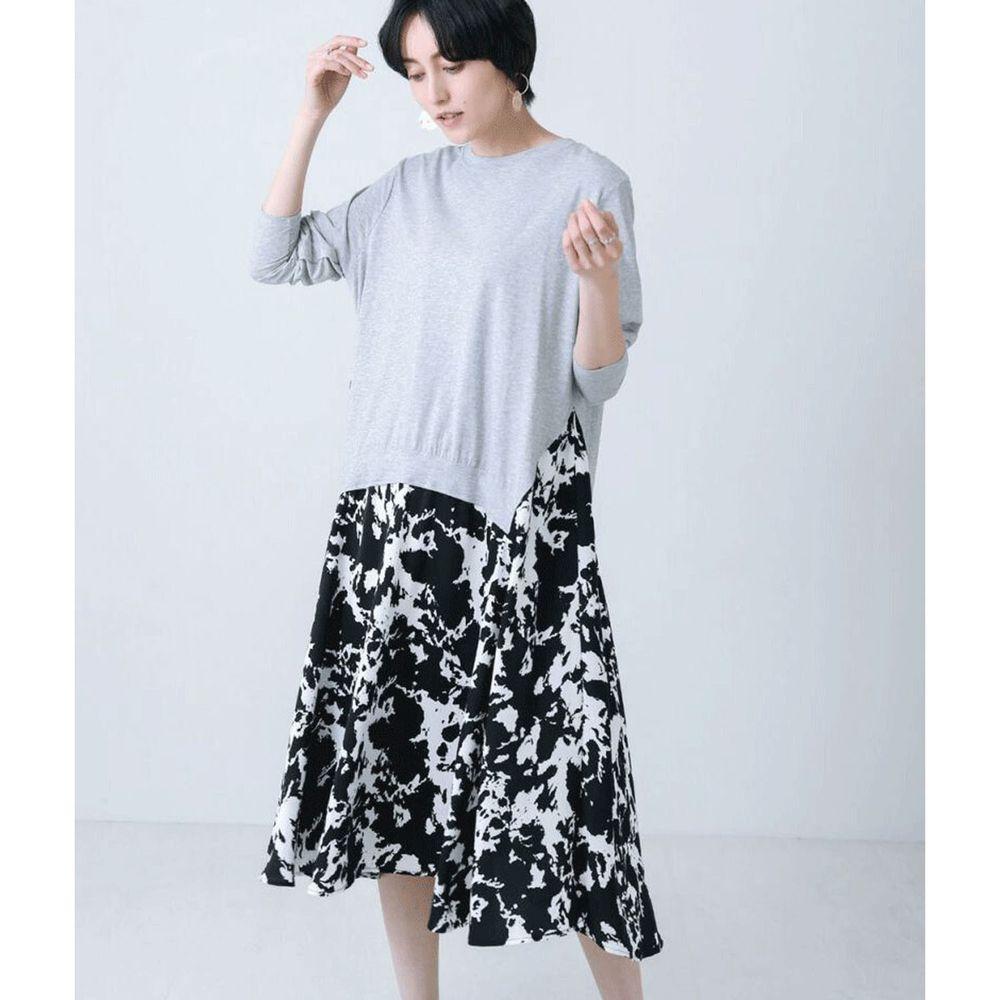 日本 Bou Jeloud - 異材質拼接不規則剪裁長袖洋裝-灰