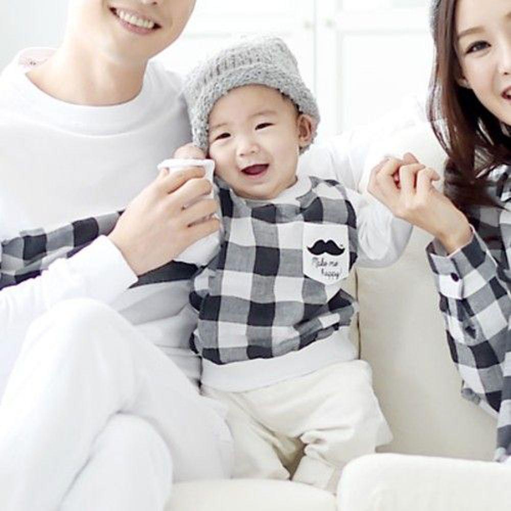 韓國 Monfimafi - 黑白格紋姊弟/兄妹裝-男寶(上衣)