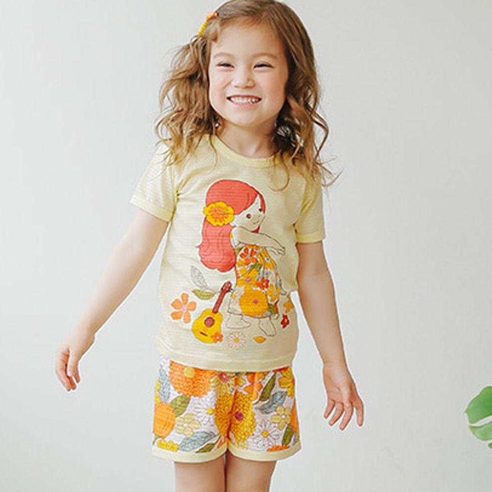 韓國 Puco - 有機棉透氣短袖家居服-夏威夷女孩