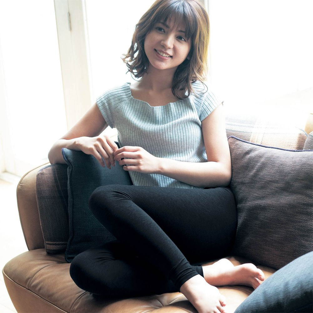 日本千趣會 - 95%棉 (媽媽)十分丈發熱褲-黑色