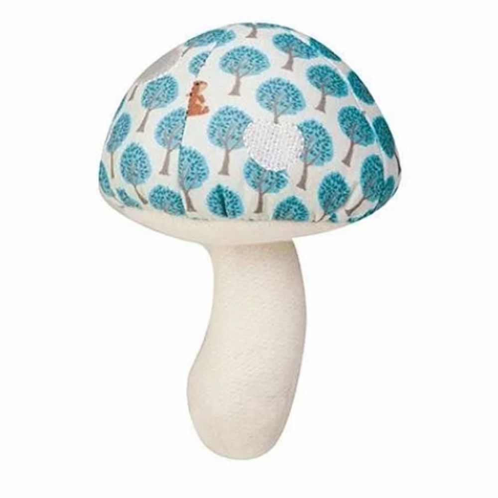 Apple Park - AP 野餐好朋友 - 有機棉蘑菇搖鈴啃咬玩具-粉藍森林