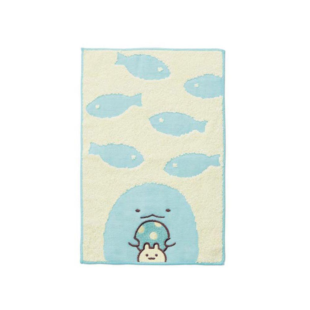 日本千趣會 - 角落生物 質感雙材質毛巾手帕-偽蜥蜴與魚-米藍 (15x24cm)