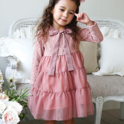 緞帶領蕾絲花朵拼接洋裝-玫瑰粉