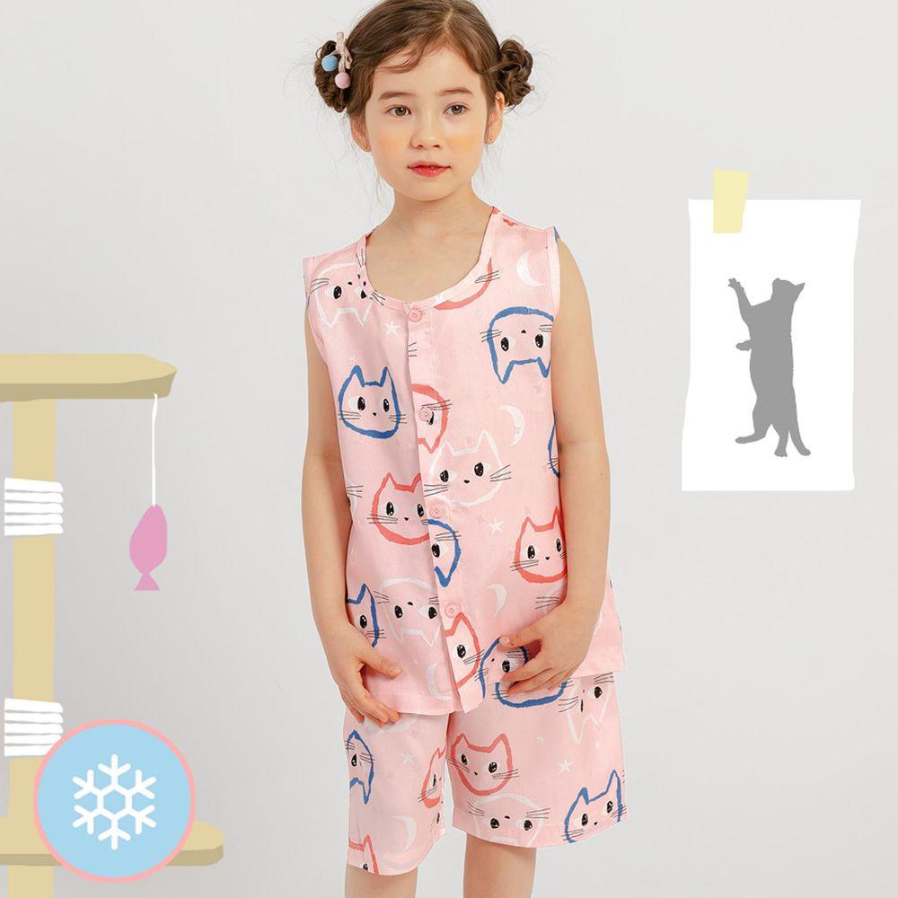 韓國 Mellisse - 韓製涼感嫘縈無袖睡衣/家居服-可愛喵喵