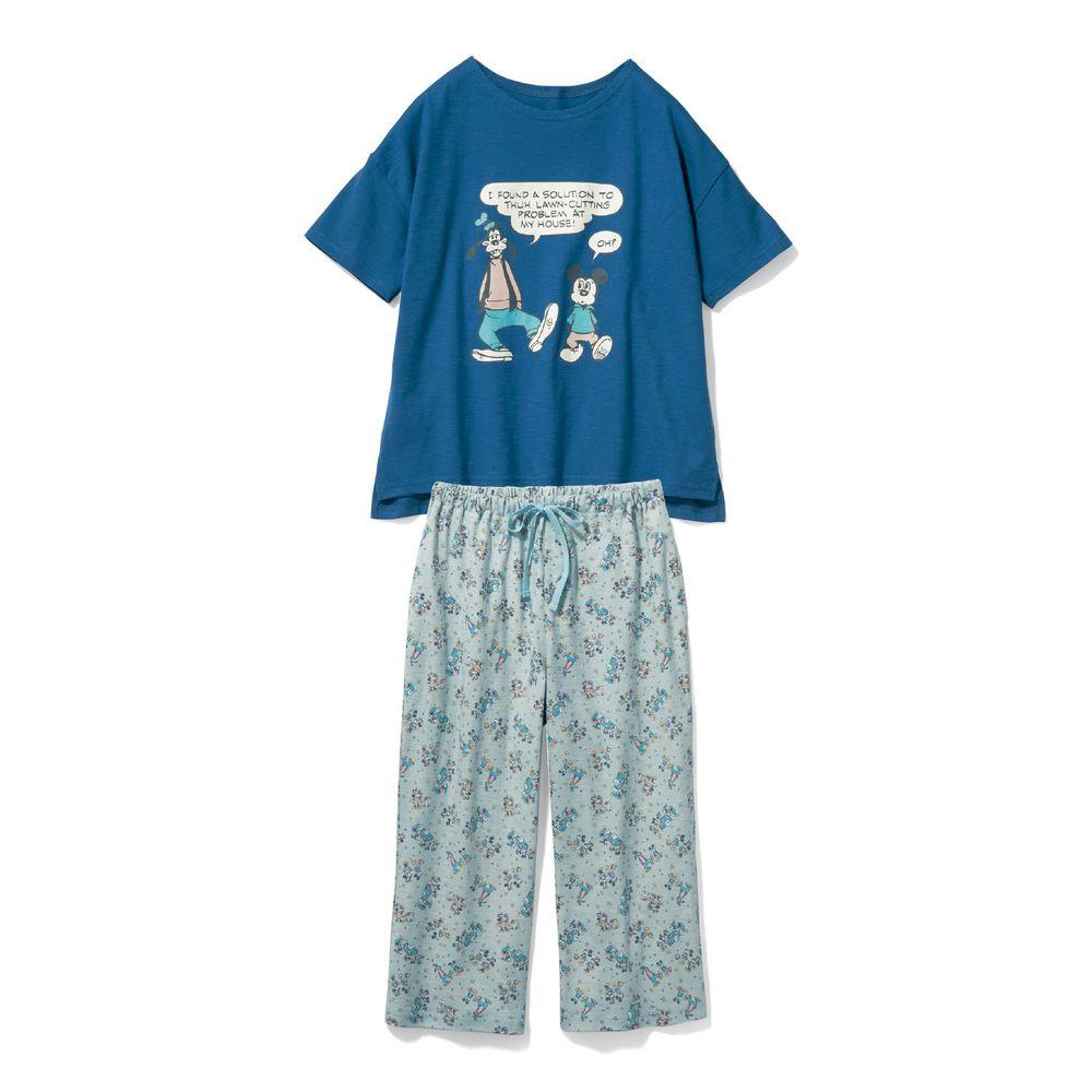 日本千趣會 - 迪士尼純棉印花短袖家居服(媽媽)-米奇與好友-藍