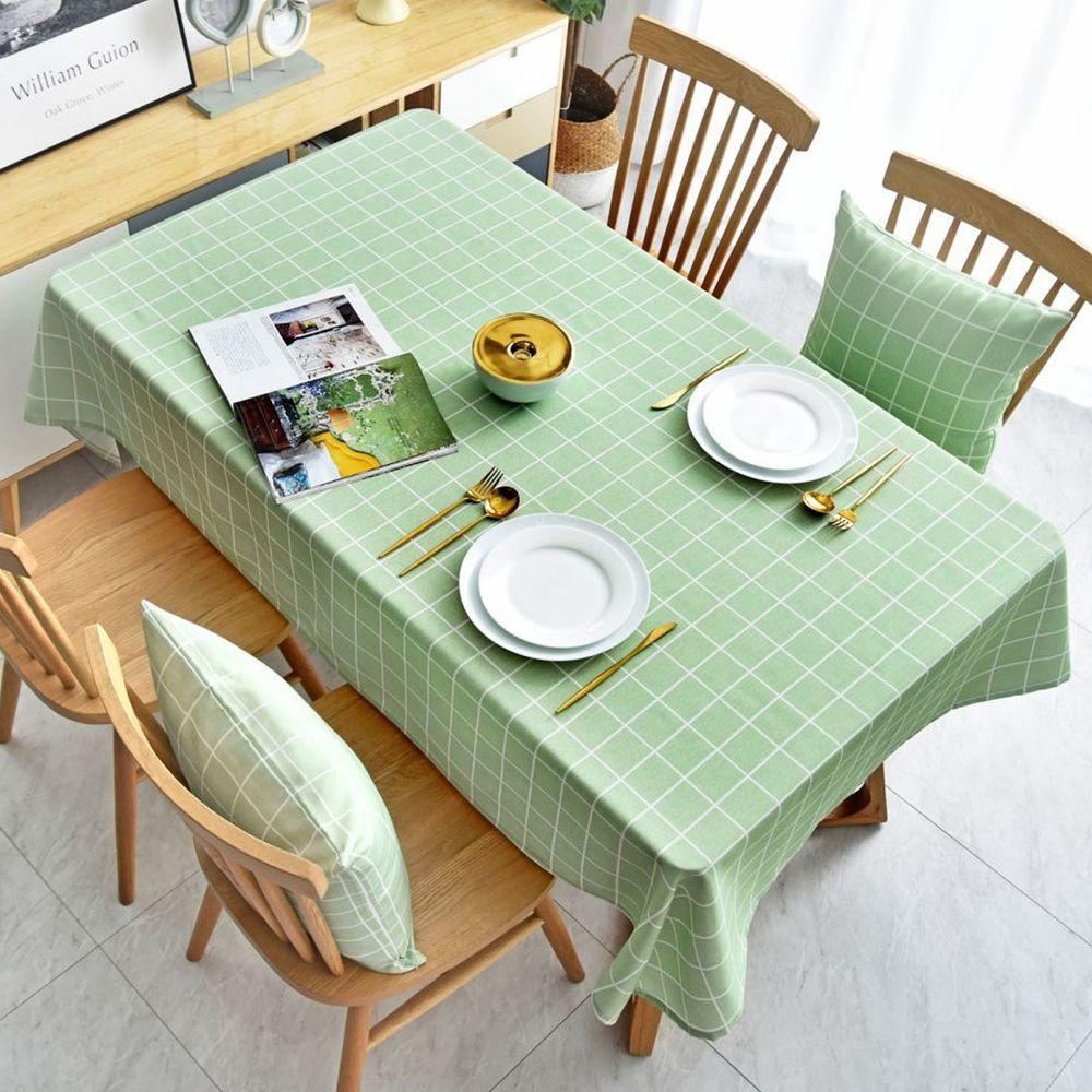防水防油免洗桌布-簡約格紋-湖水綠