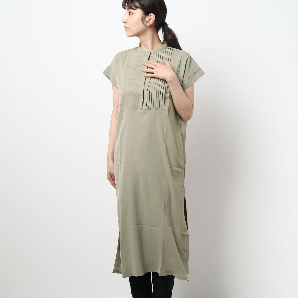 日本 Riche Glamour - 胸口小百褶設計一分袖洋裝-墨綠